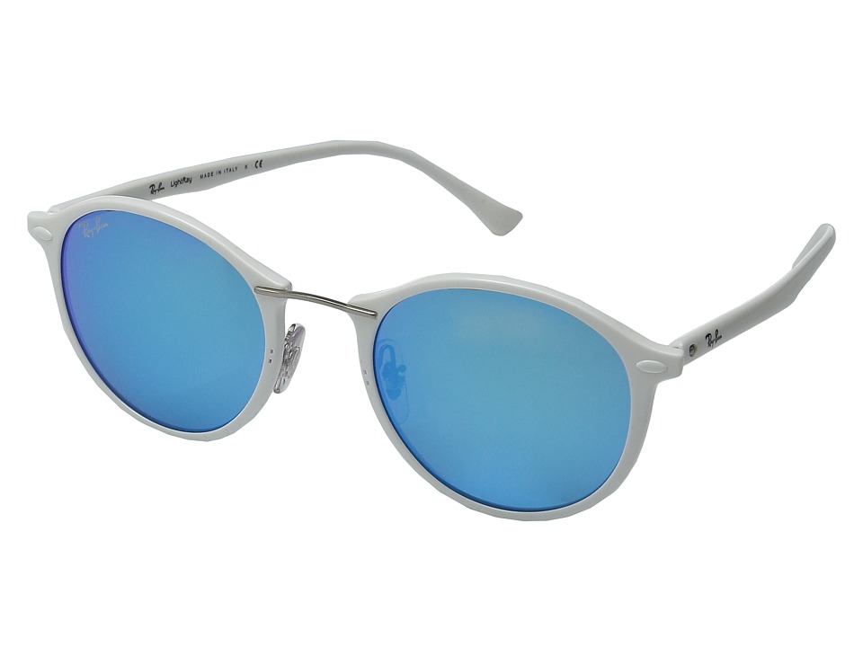 Ray-Ban - RB4242 49mm (White Frame/Green Mirror Blue Lens) Fashion Sunglasses