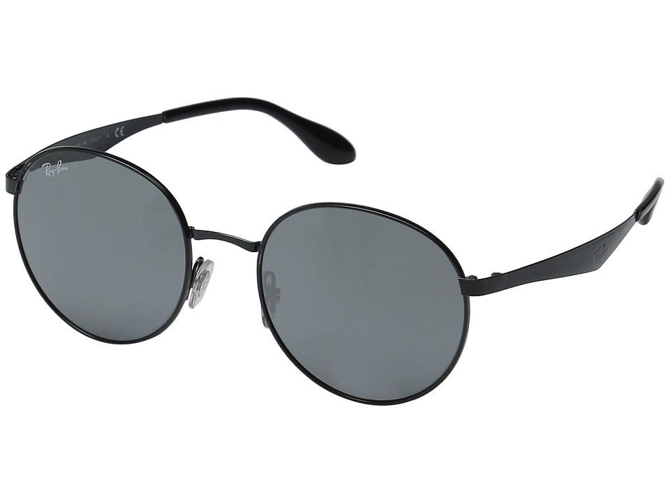 Ray-Ban - RB3537 51mm (Shiny Black Frame/Grey Mirror Silver Lens) Fashion Sunglasses