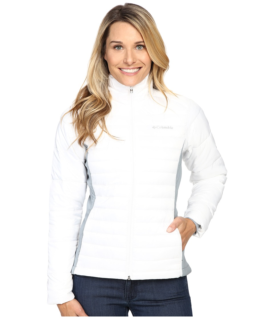 Columbia - Powder Pillow Hybrid Jacket (White/Tradewinds Grey 1) Women's Coat