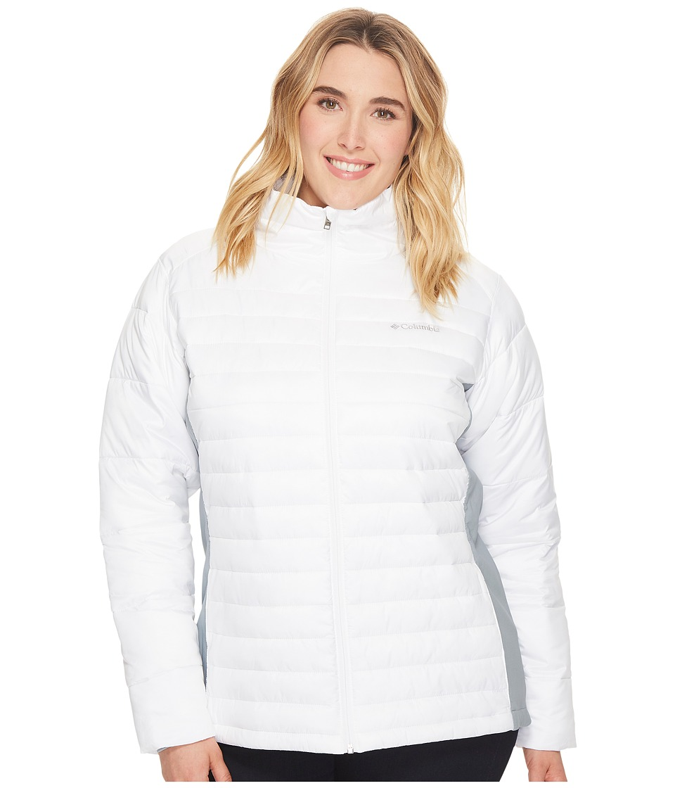 Columbia - Plus Size Powder Pillow Hybrid Jacket (White/Tradewinds Grey) Women's Coat