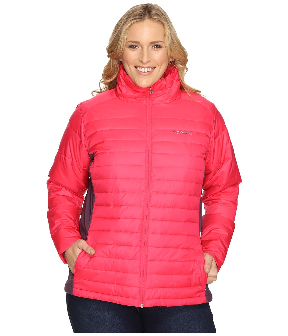 Columbia - Plus Size Powder Pillow Hybrid Jacket (Punch Pink) Women's Coat