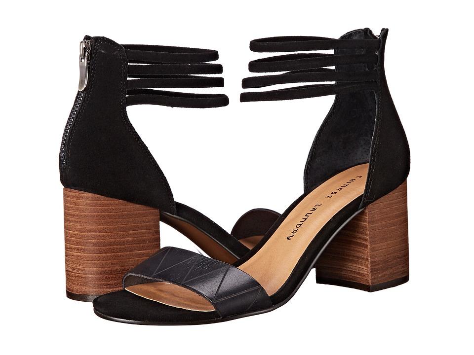 Chinese Laundry Rylan Black Split Suede High Heels