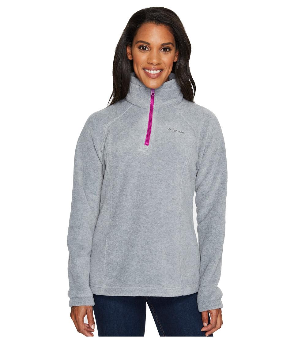 Columbia - Benton Springstm 1/2 Zip (Light Grey/Bright Plum) Women's Long Sleeve Pullover