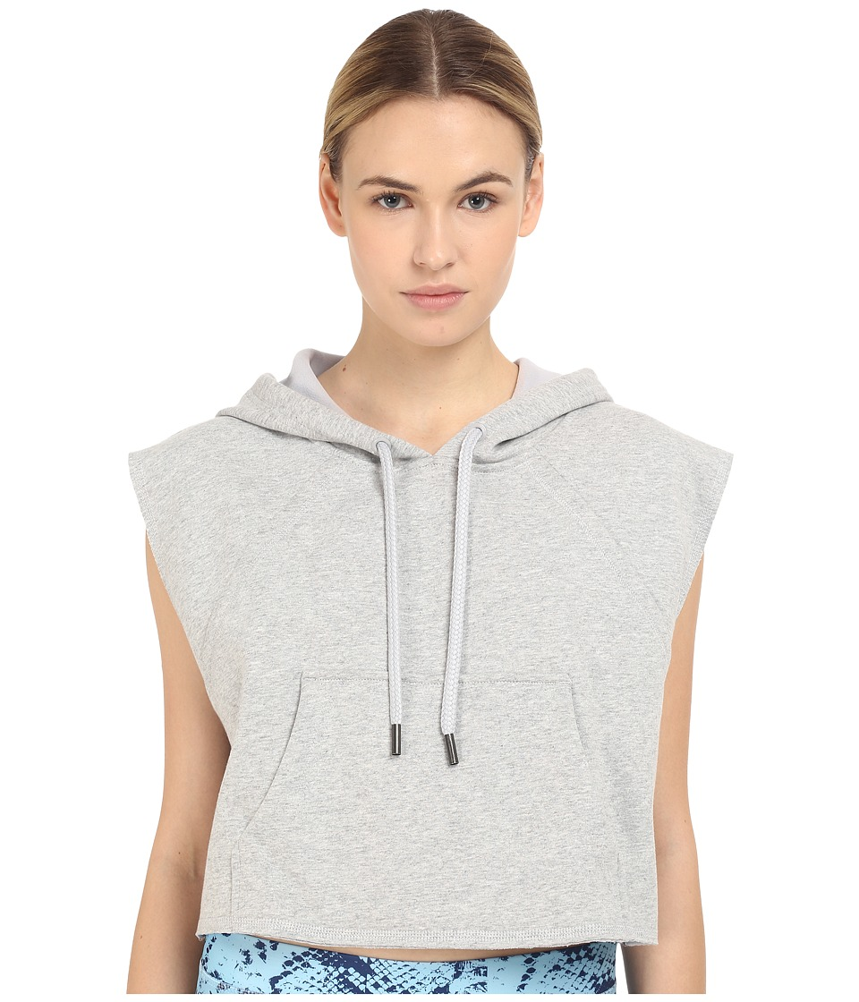 adidas by Stella McCartney - Yoga Crop Hoodie AI8419 (Pearl Grey Heather/Smoked) Women's Sweatshirt