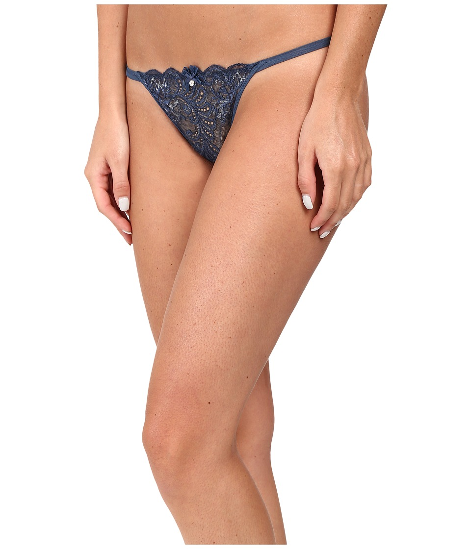 Le Mystere - Sophia Lace String Thong (Steel Blue/Silver Lurex) Women's Underwear