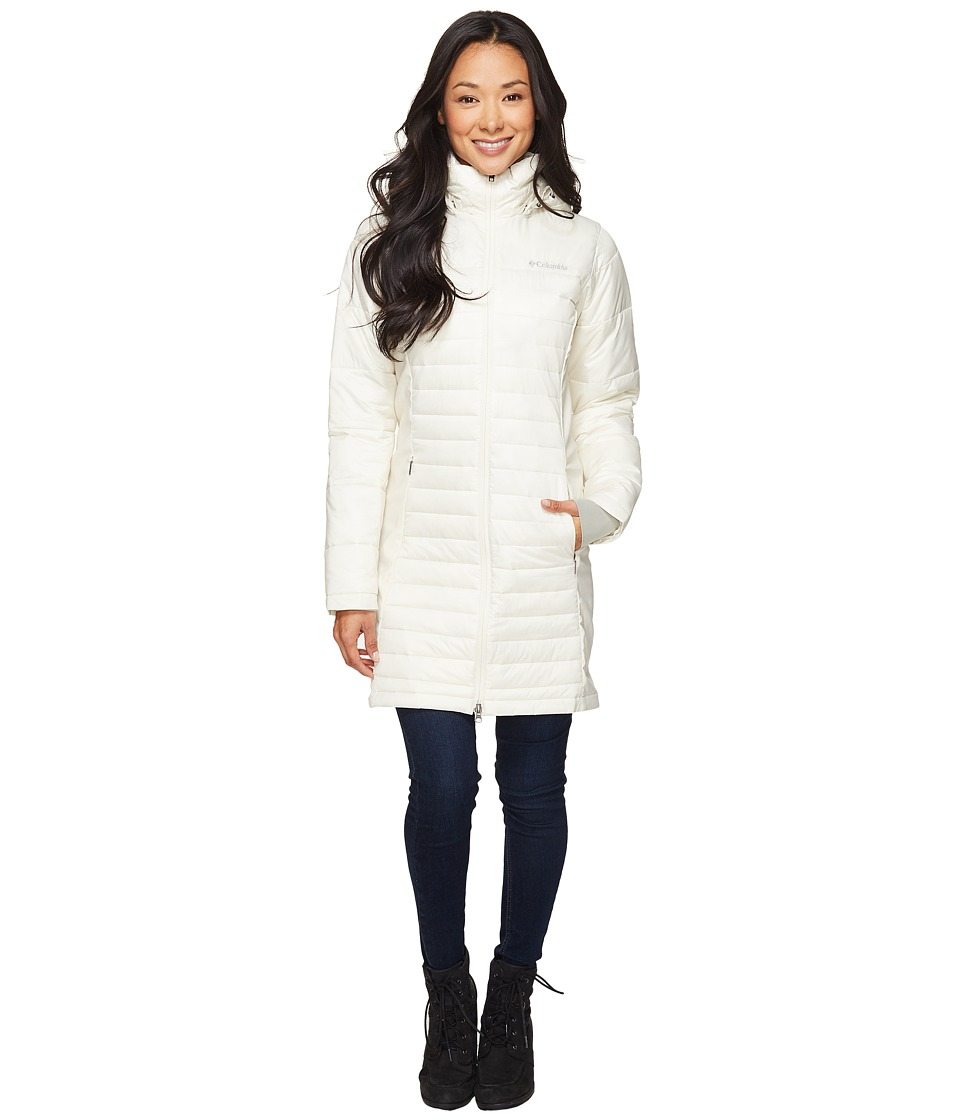 Columbia - Powder Pillow Hybrid Long Jacket (Chalk) Women's Coat