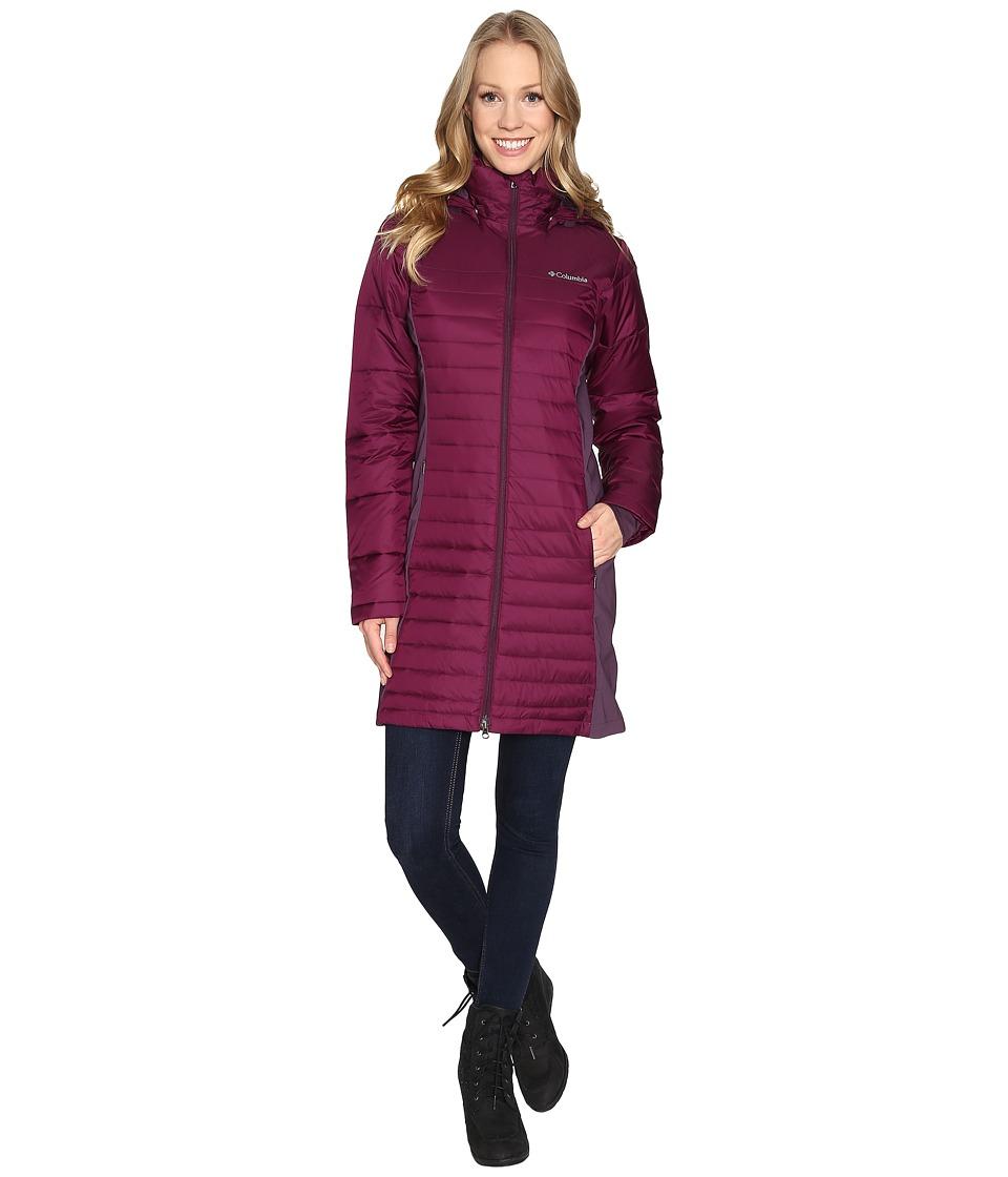 Columbia - Powder Pillow Hybrid Long Jacket (Purple Dahlia/Dusty Purple) Women's Coat