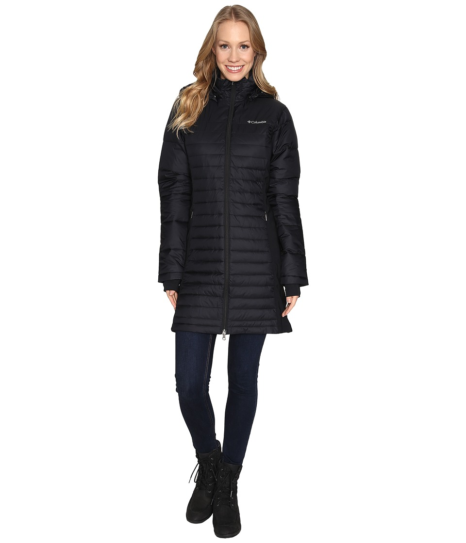 Columbia - Powder Pillow Hybrid Long Jacket (Black) Women's Coat