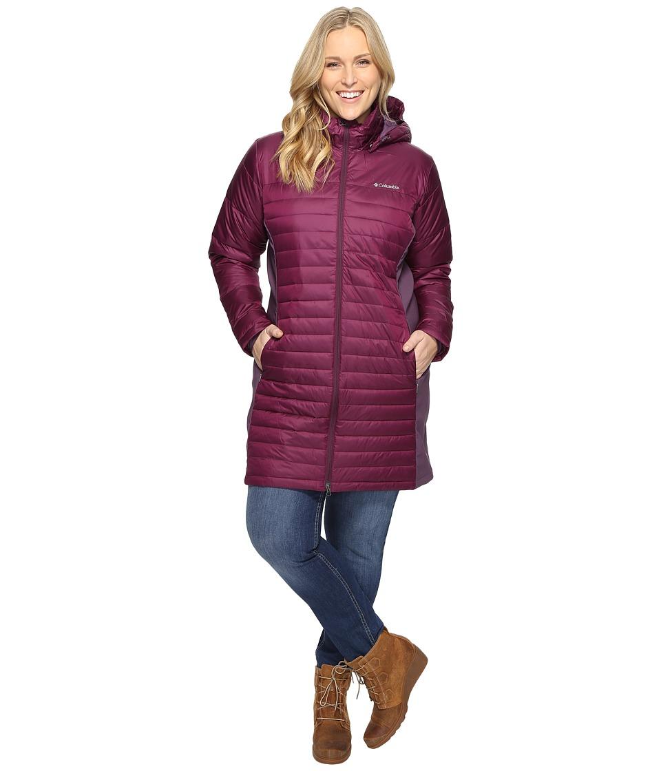 Columbia - Plus Size Powder Pillow Hybrid Long Jacket (Purple Dahlia/Dusty Purple) Women's Coat
