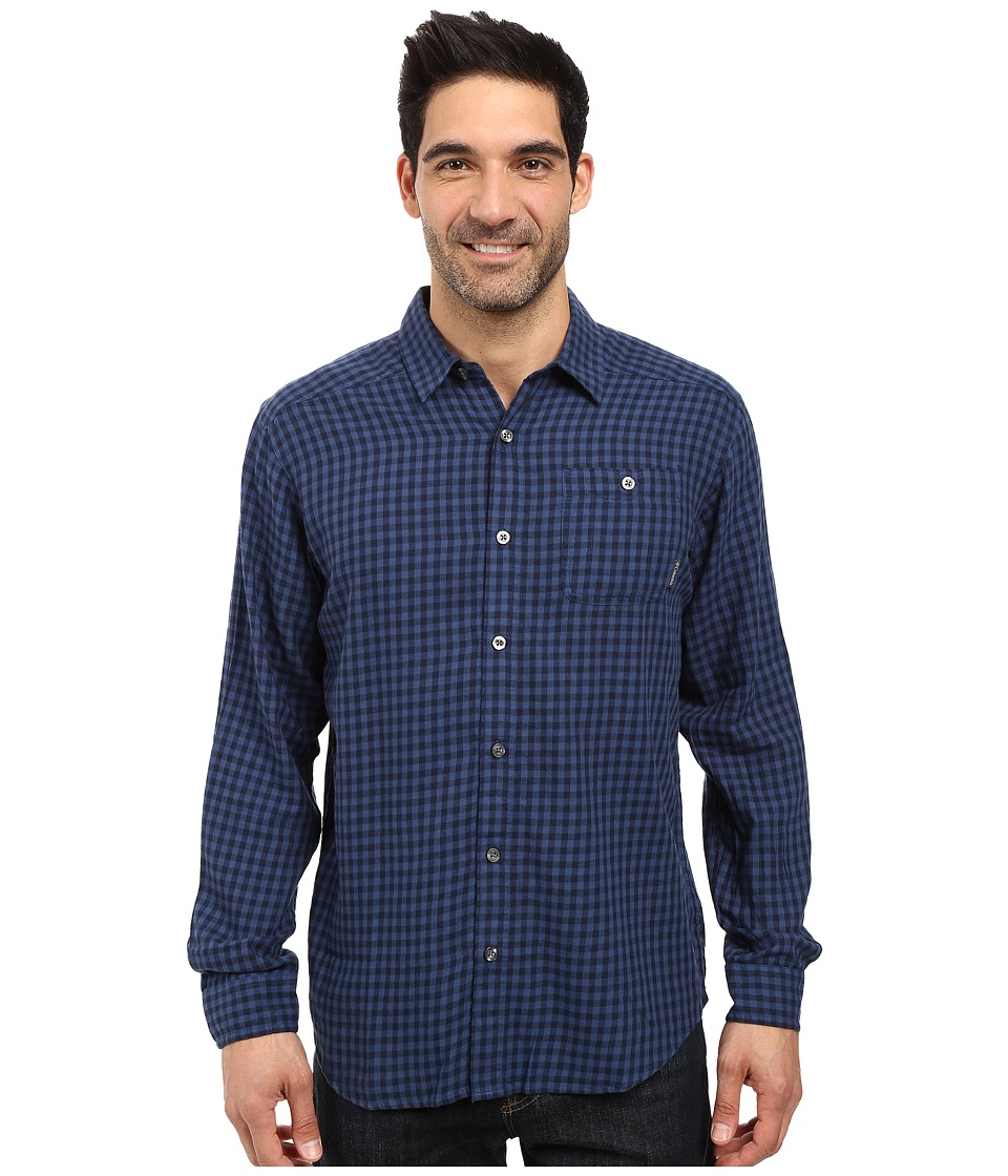 Columbia - Cornell Woods Flannel Long Sleeve Shirt (Night Tide Gingham) Men's Long Sleeve Button Up