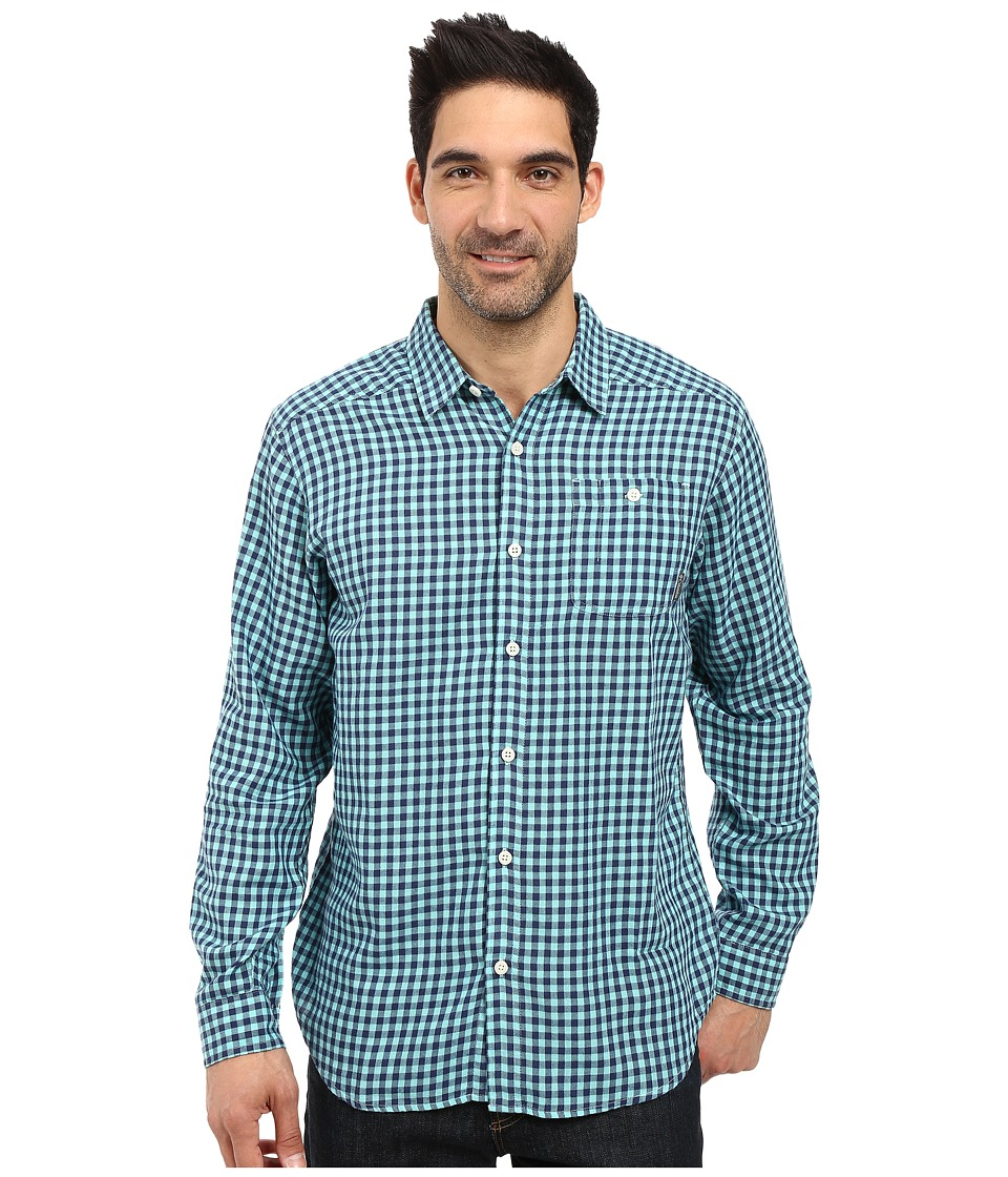Columbia - Cornell Woods Flannel Long Sleeve Shirt (Ocean Water Gingham) Men's Long Sleeve Button Up