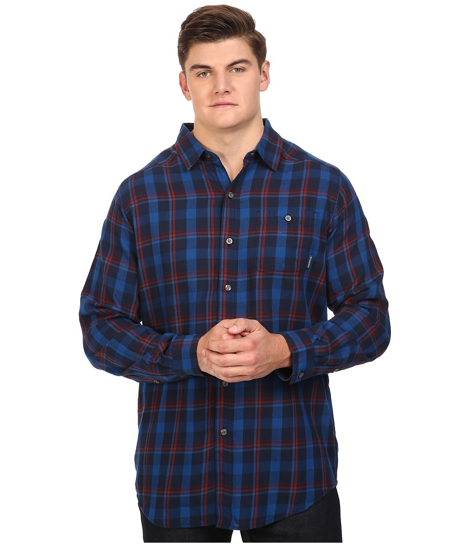 Columbia - Cornell Woods Flannel Long Sleeve (Collegiate Navy Multi Plaid) Men's Clothing