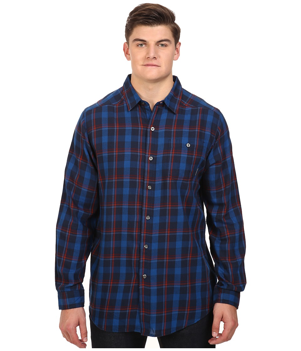 Columbia - Big Tall Cornell Woods Flannel Long Sleeve Shirt (Collegiate Navy Multi Plaid) Men's Clothing