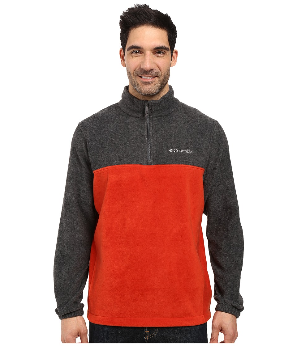 Columbia - Steens Mountain Half Zip (Charcoal Heather/Rust Red) Men's Coat