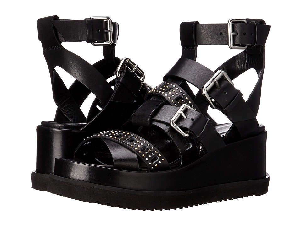 McQ - Roman Lace Wedge (Black) Women's Wedge Shoes
