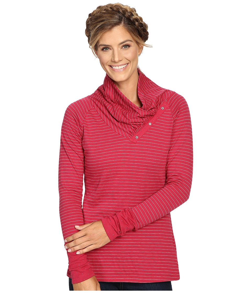 Columbia - Silver Falls Long Sleeve (Red Orchid Stripe) Women's Clothing
