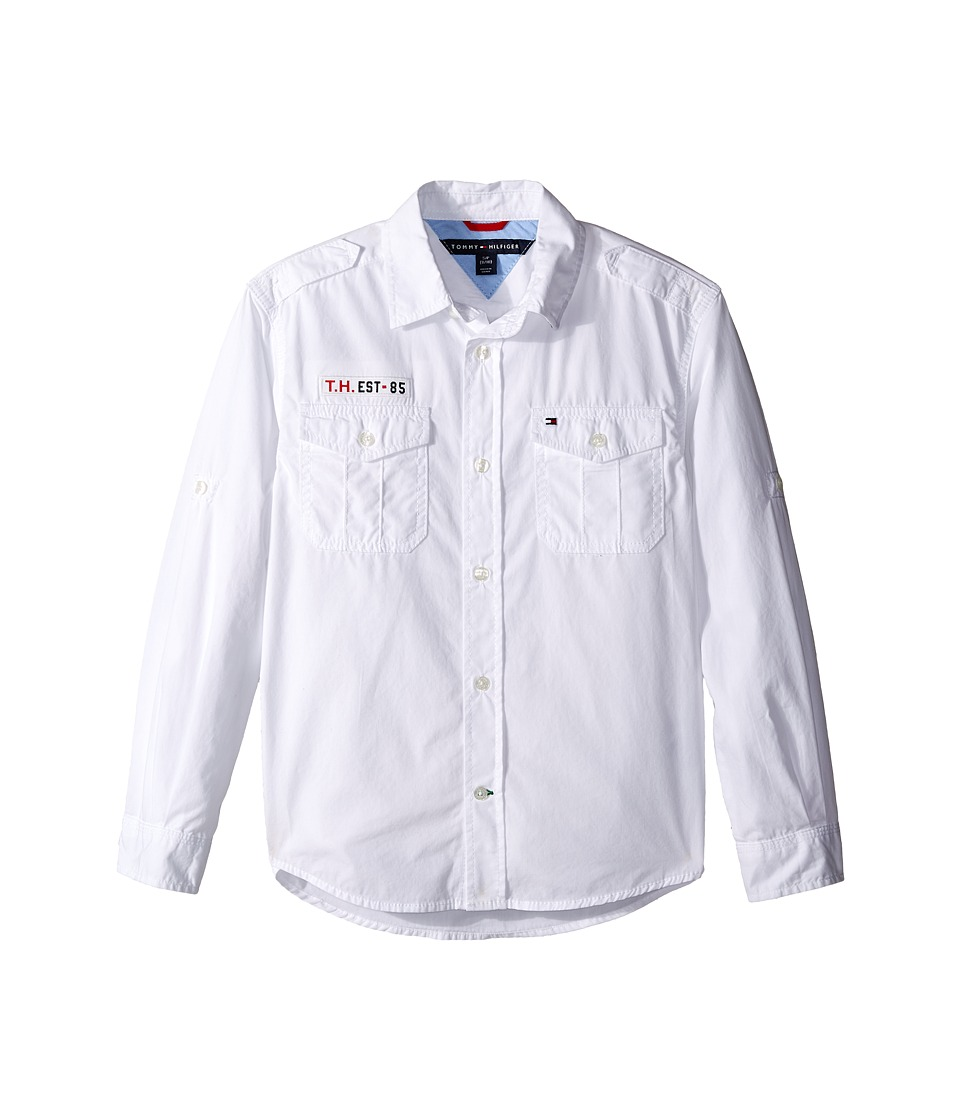 Tommy Hilfiger Kids - Americana Long Sleeve Shirt (Big Kids) (White) Boy's Long Sleeve Button Up