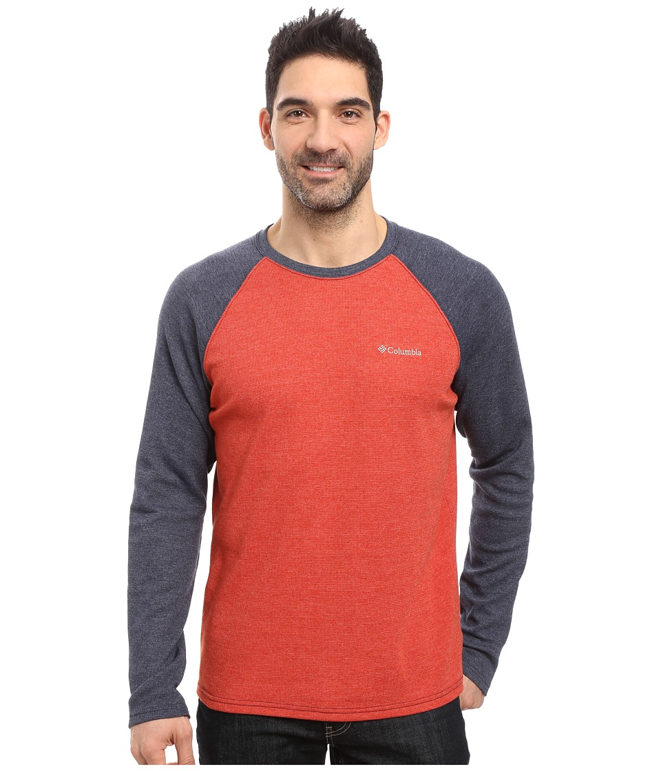 Columbia - Ketring Raglan Long Sleeve Shirt (Rust Red Heather/Collegiate Navy Heather) Men's Clothing