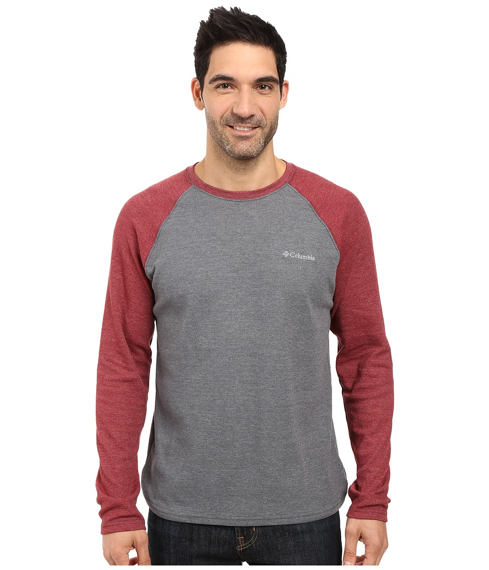 Columbia - Ketring Raglan Long Sleeve Shirt (Graphite Heather/Red Element Heather) Men's Clothing
