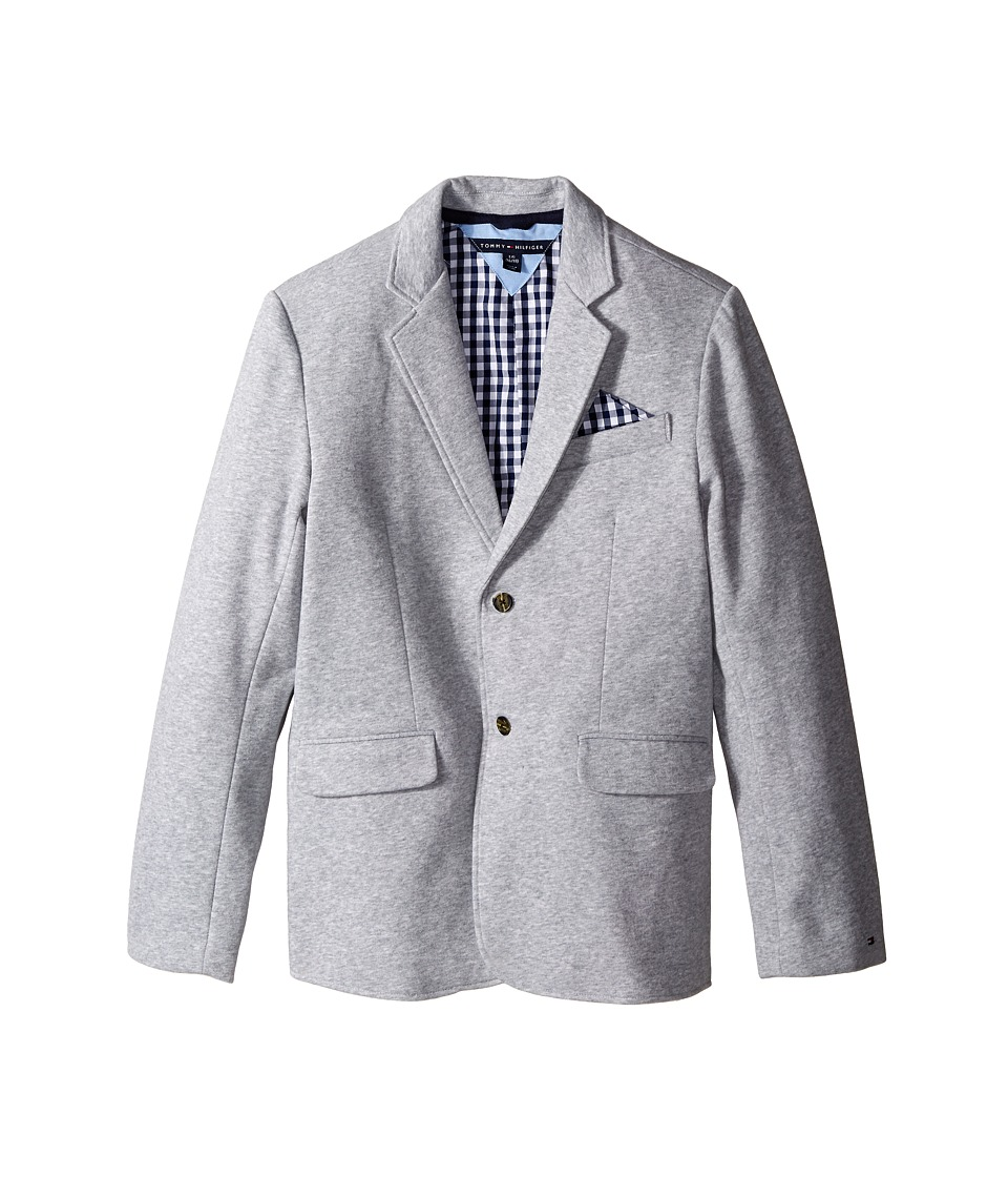 Tommy Hilfiger Kids - Knit Blazer with Gingham Lining (Big Kids) (Grey Heather) Boy's Jacket