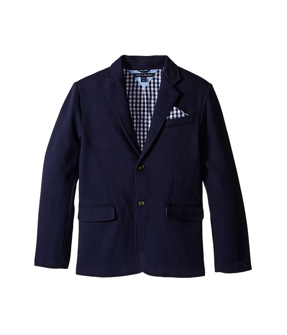 Tommy Hilfiger Kids - Knit Blazer with Gingham Lining (Big Kids) (Swim Navy) Boy's Jacket