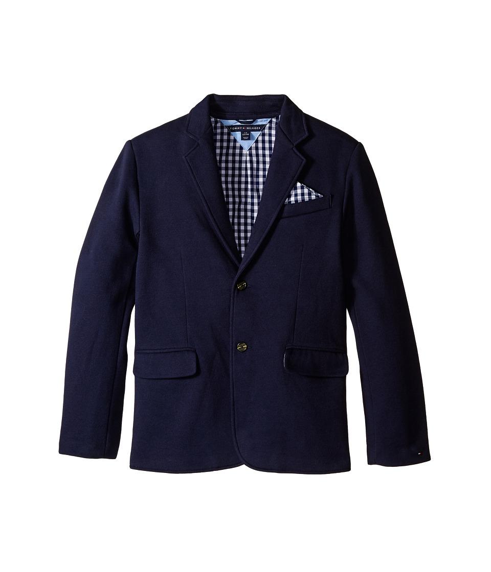 Tommy Hilfiger Kids - Knit Blazer with Gingham Lining (Big Kids) (Swim Navy) Boy's Jacket