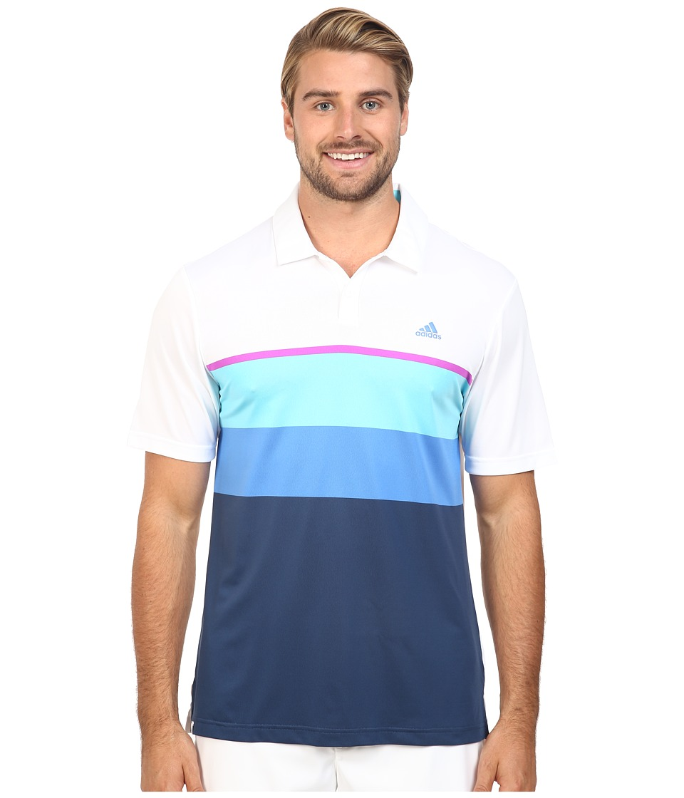 adidas Golf - CLIMACOOL Engineered Stripe Polo (White/Blue Glow/Flash Pink) Men's Short Sleeve Pullover