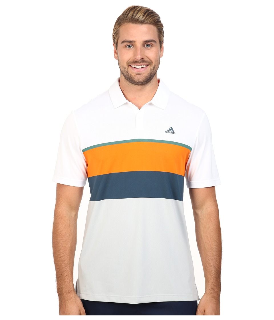 adidas Golf - CLIMACOOL Engineered Stripe Polo (White/Unity Orange/Tech Forest) Men's Short Sleeve Pullover