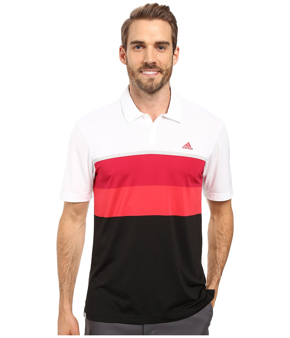adidas Golf - CLIMACOOL Engineered Stripe Polo (White/Unity Pink/Stone) Men's Short Sleeve Pullover