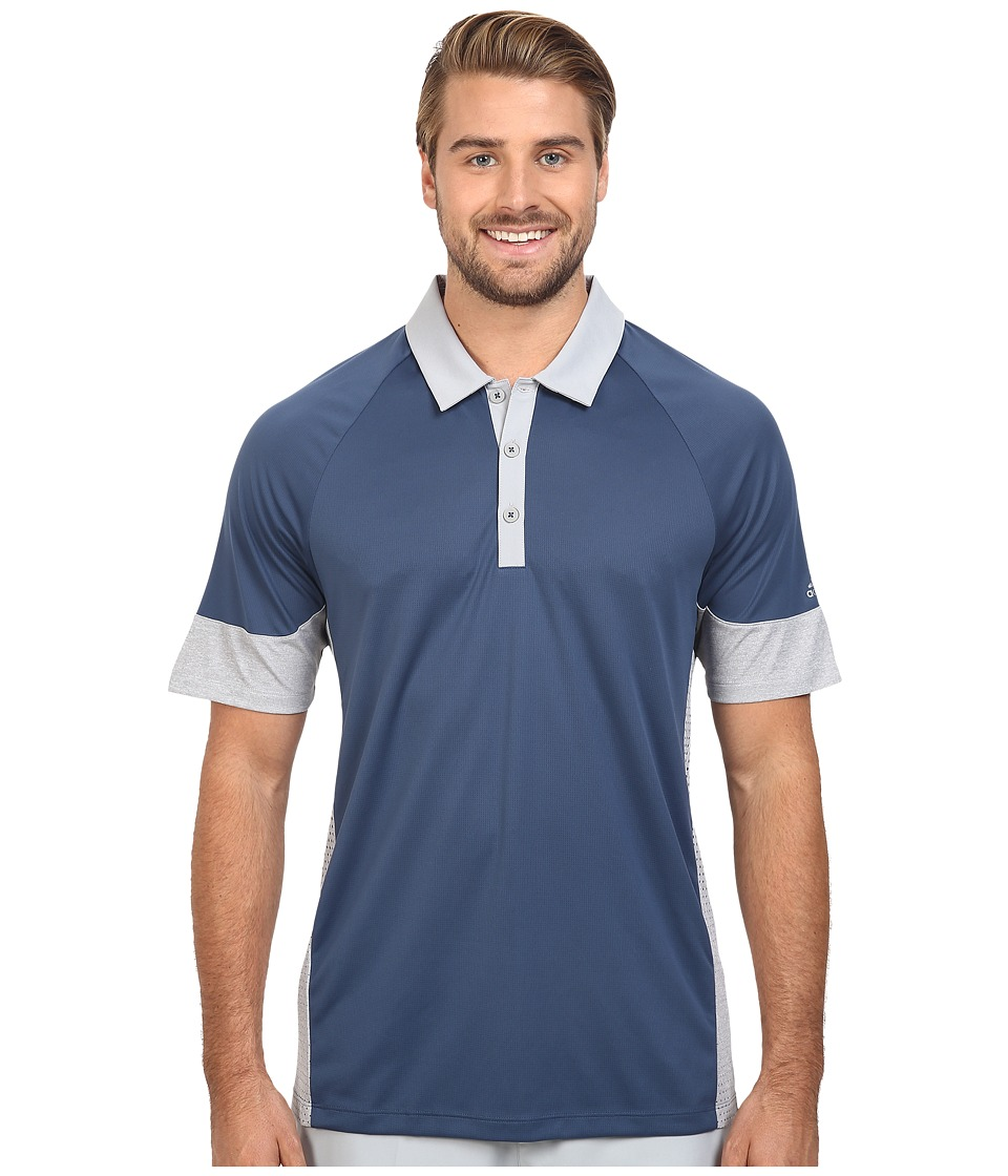 adidas Golf - CLIMACHILL Print Block Polo (Mineral Blue) Men's Clothing