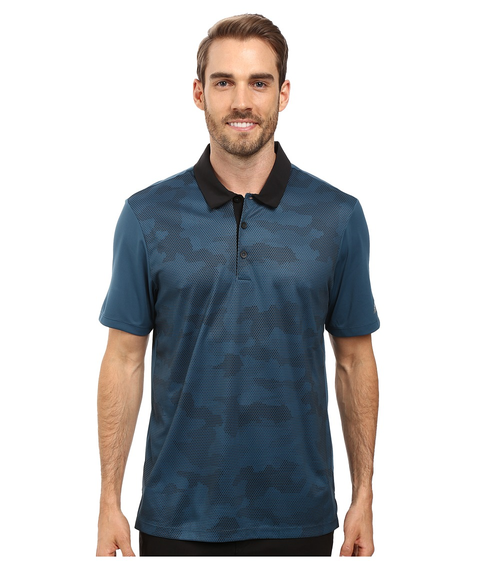adidas Golf - CLIMACHILL Camo Print Polo (Utility Green) Men's Clothing