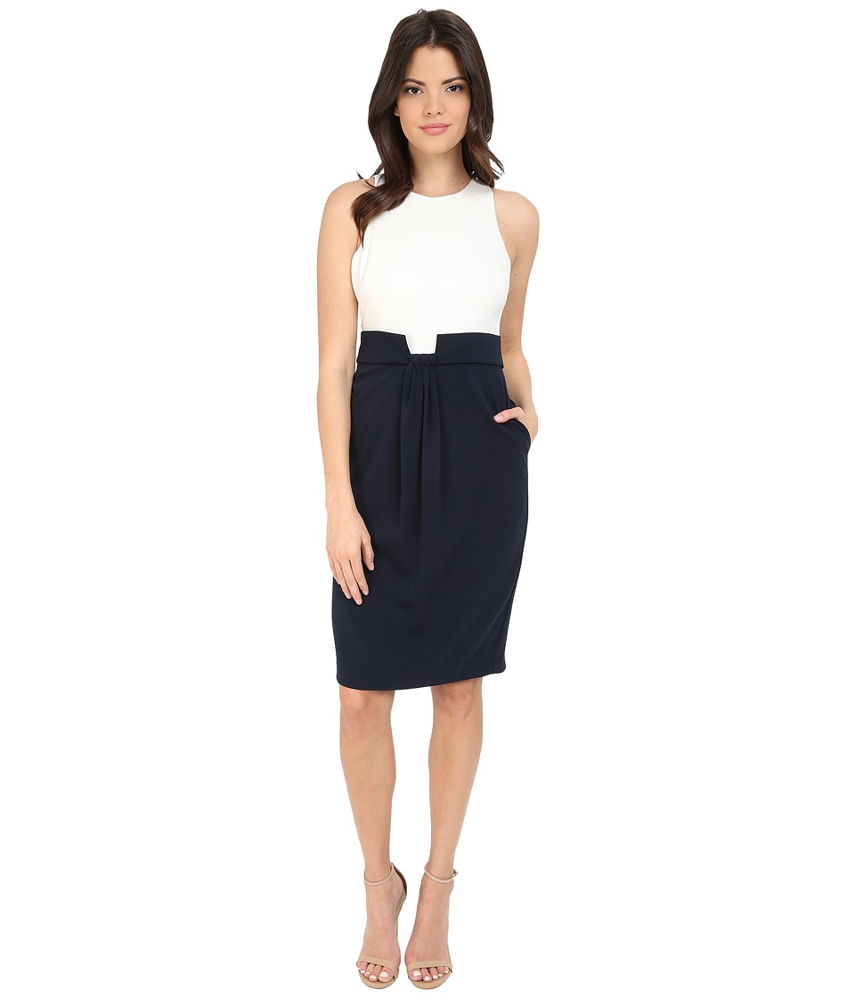 Badgley Mischka - Combo Shirred Front Dress (Navy/Ivory) Women's Dress