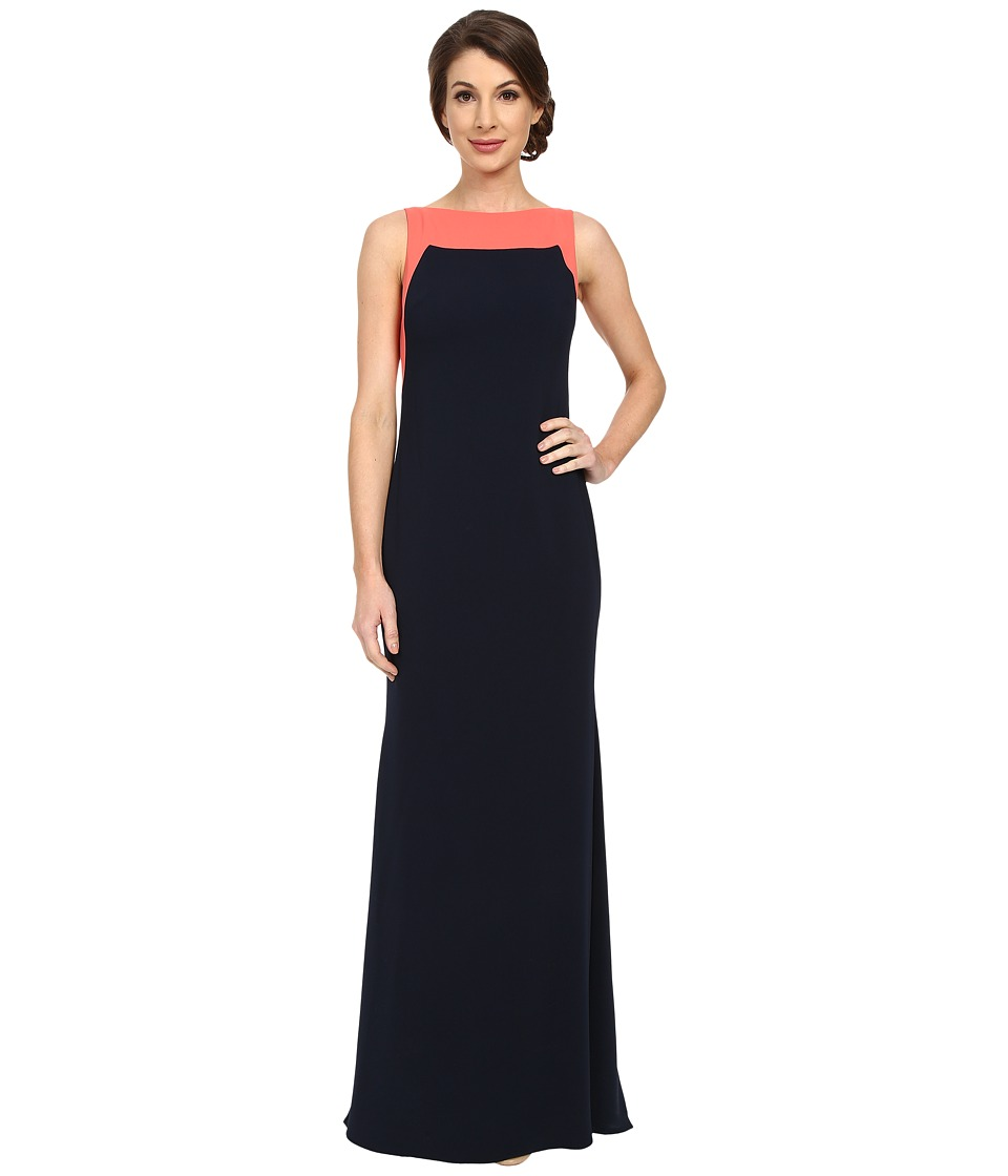Badgley Mischka - Color Block Odessa Gown (Navy/Coral) Women's Dress