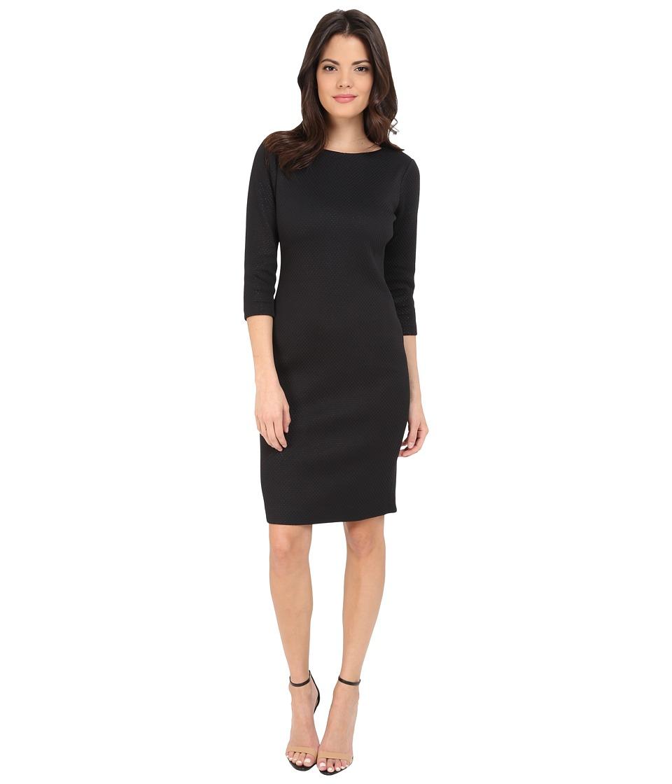 Badgley Mischka Elbow Sleeve Sheath Day Dress (Black/Ivory) Women