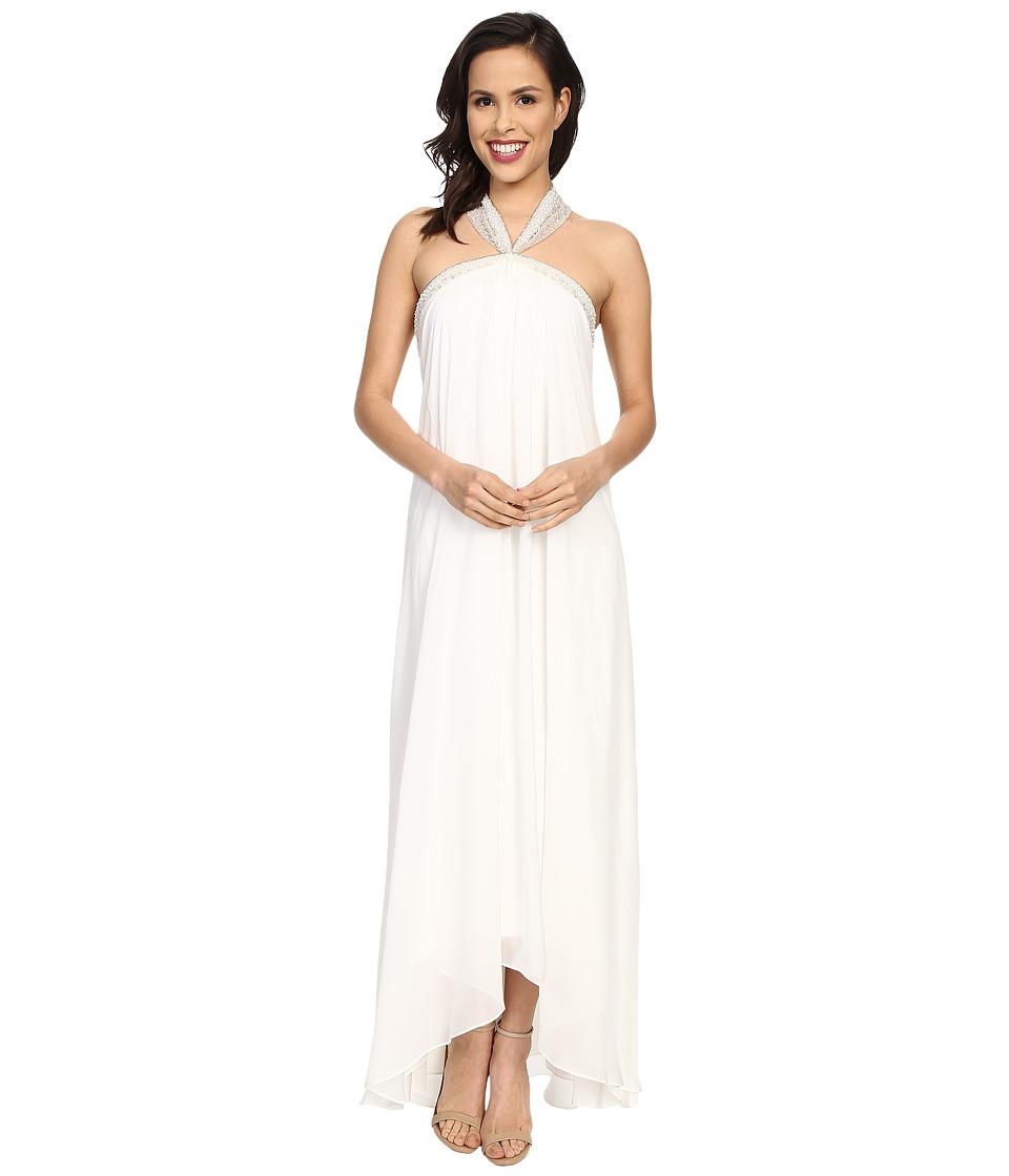Badgley Mischka - Solid Halter Draped Gown (White) Women's Dress