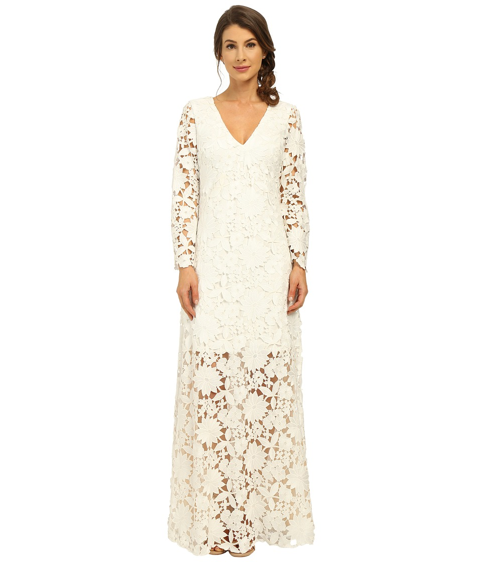 Badgley Mischka - Long Sleeve Lace Gown (White) Women's Dress