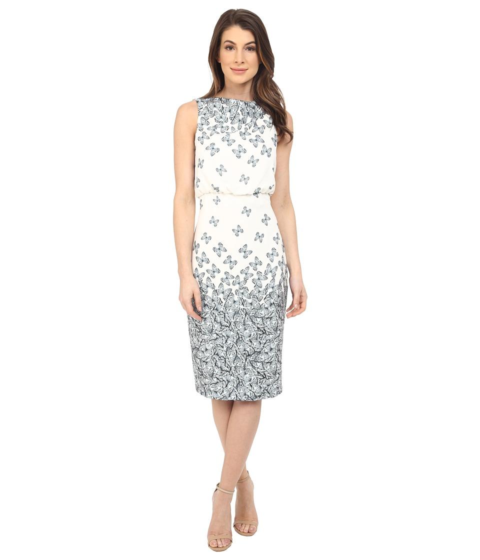 Badgley Mischka Sleeveless Printed Dress (Ivory/Black) Women