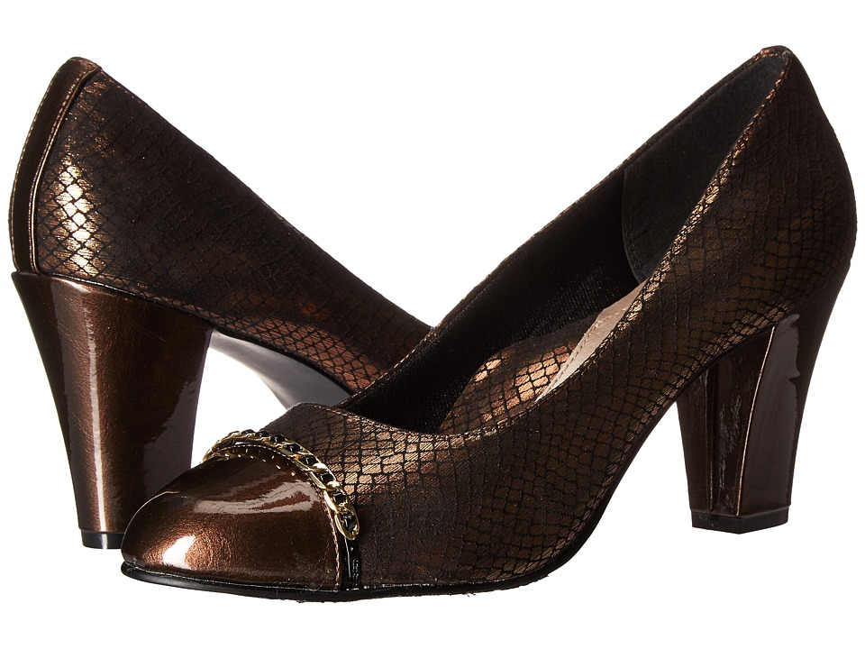 Soft Style - Calina (Bronze Snake/Mid Brown Pearlized Patent) Women's 1-2 inch heel Shoes