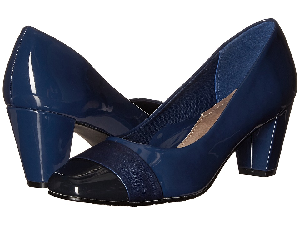 Soft Style - Mabry (True Navy Patent/True Navy Vitello) Women's 1-2 inch heel Shoes