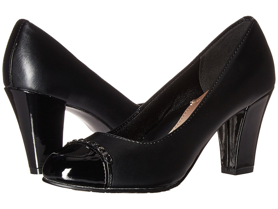 Soft Style - Calina (Black Vitello/Patent) Women's 1-2 inch heel Shoes