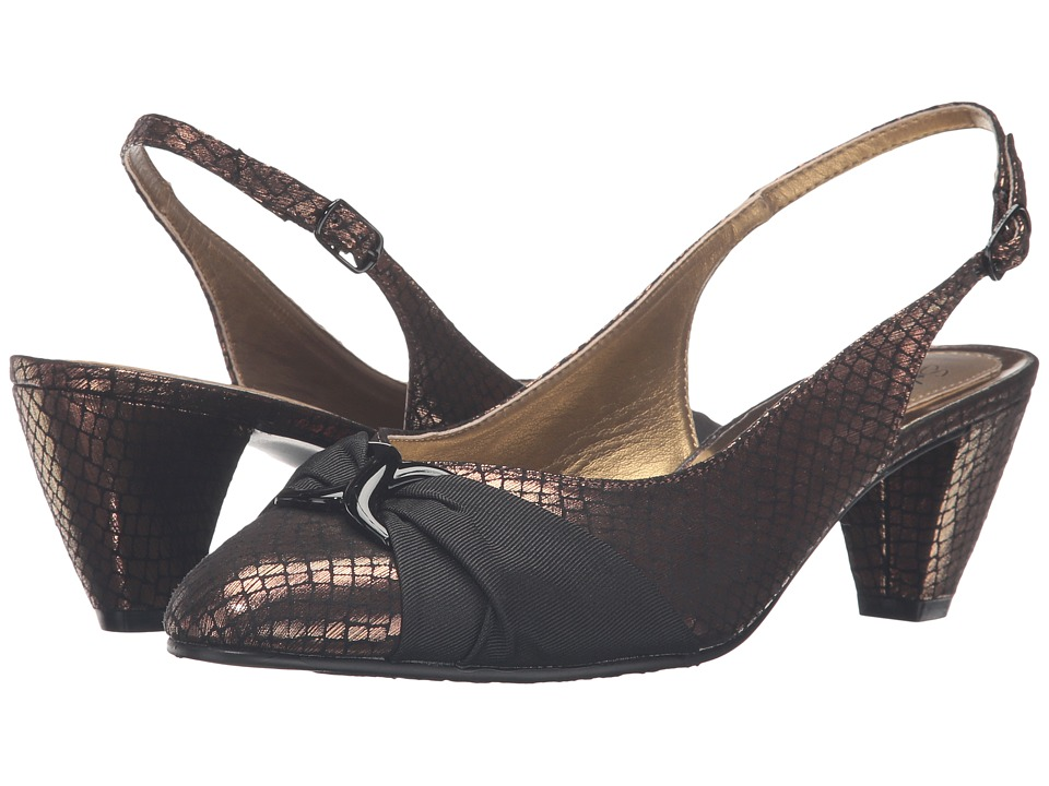 Soft Style Dezarae (Bronze Snake/Black Grosgrain) High Heels