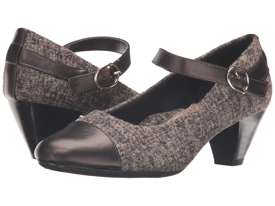 Soft Style - Geena (Dark Brown Tweed/Gunmetal Vitello) Women's 1-2 inch heel Shoes