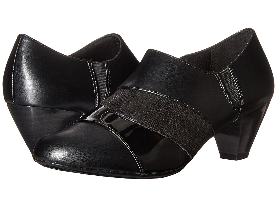 Soft Style Geva (Black Vitello/Patent/Lizard) Women