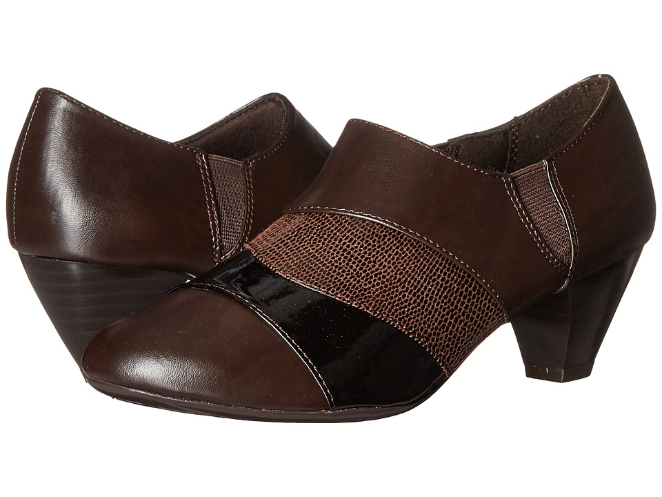 Soft Style Geva (Dark Brown Vitello/Pearlized Patent/Lizard) Women