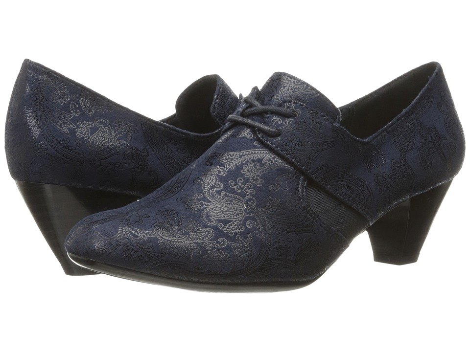 Soft Style - Gretel (Navy Paisley Faux Suede) Women's 1-2 inch heel Shoes