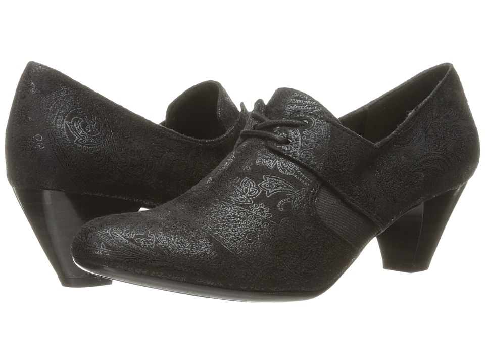 Soft Style - Gretel (Black Paisley Faux Suede) Women's 1-2 inch heel Shoes