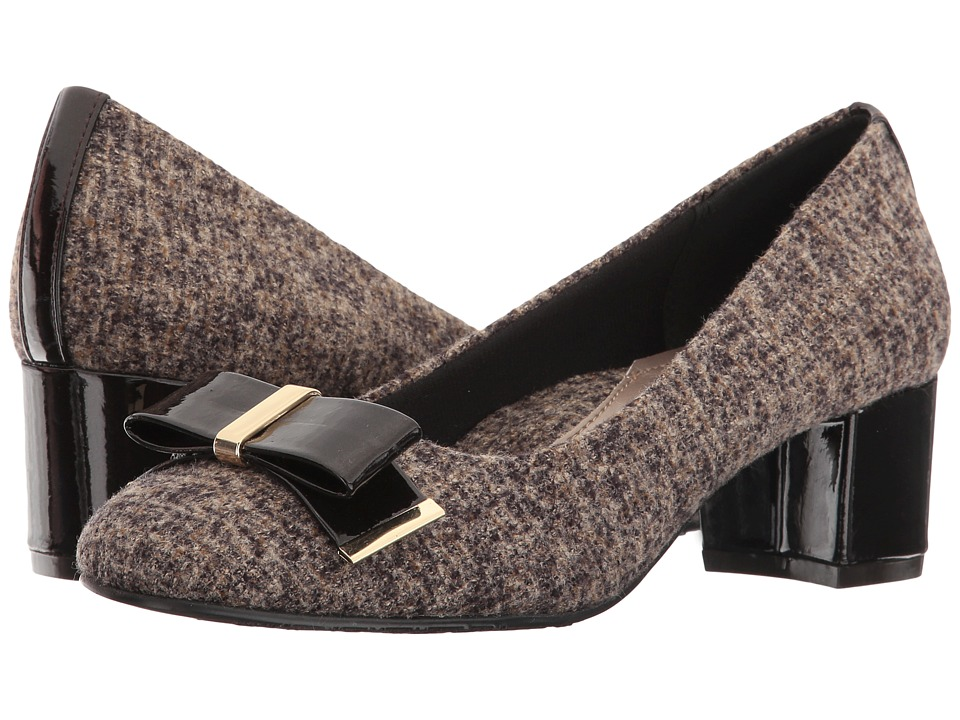 Soft Style - Tacita (Dark Brown Tweed/Pearlized Patent) Women's 1-2 inch heel Shoes