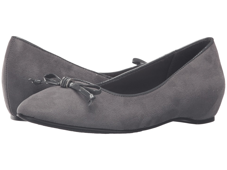 Soft Style - Cahill (Dark Grey Faux Suede/Dark Grey Patent) Women's Dress Flat Shoes