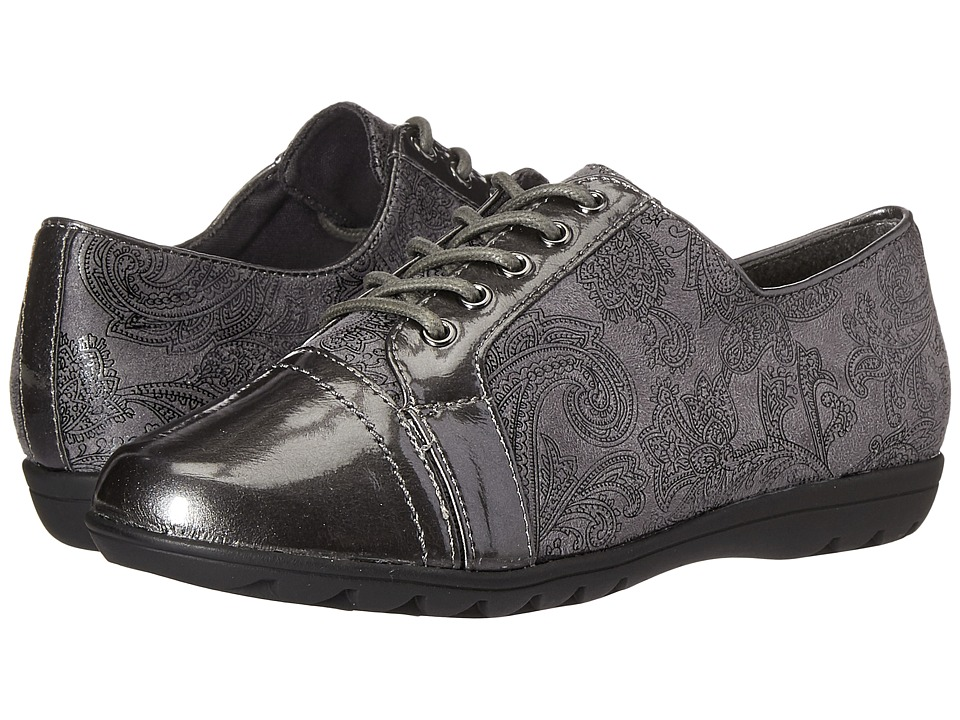 Soft Style - Valda (Dark Grey Paisley Faux Suede/Dark Grey Pearlized Patent) Women's Shoes