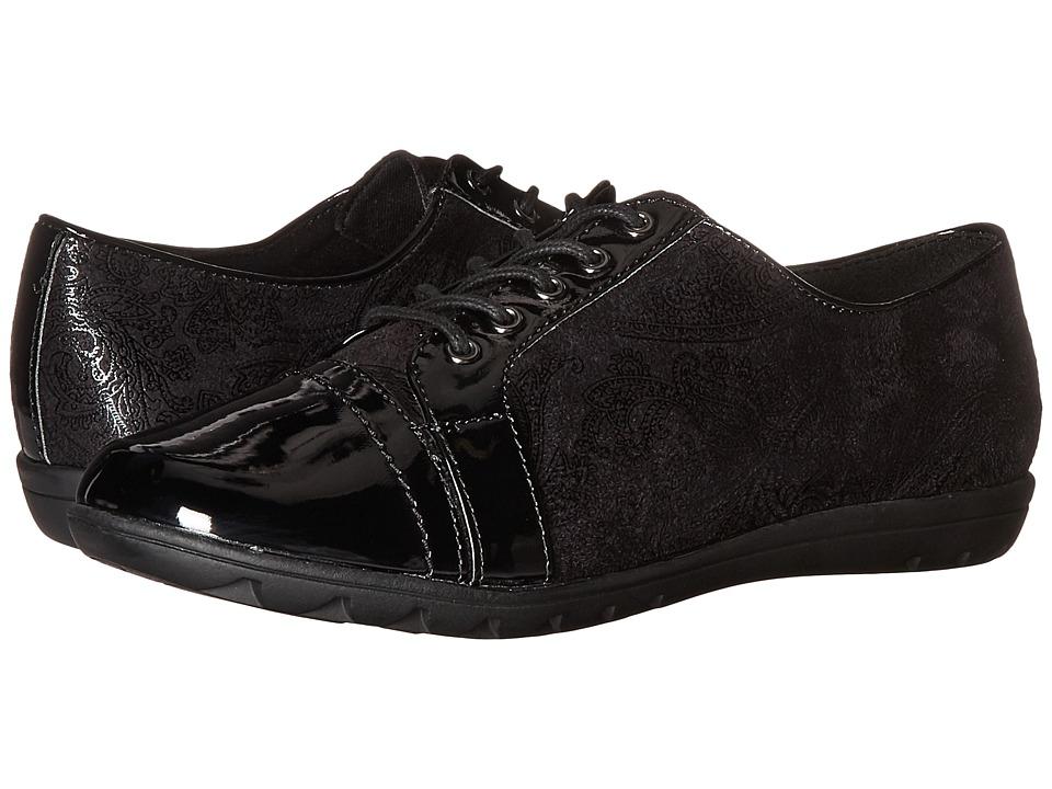 Soft Style - Valda (Black Paisley Faux Suede/Black Patent) Women's Shoes